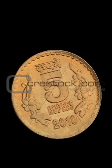 Closeup of Indian Five Rupee Coin