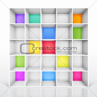 Empty colorful bookshelf