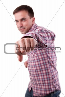 Attractive Man punching