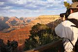 Photographer Shooting the Beautiful Landscape of the Grand Canyon.