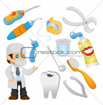 cartoon dentist tool icon set