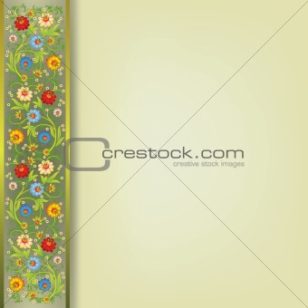 abstract floral ornament on beige background