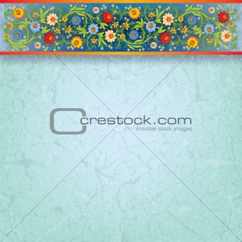 abstract floral ornament on blue background
