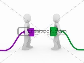 3d men plug  purple green