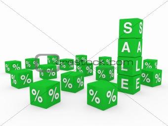 3d sale cube green