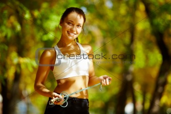 Cheerful sportswoman