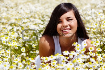 In chamomile field