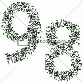 Hand drawing ornamental alphabet. Letter 89