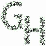 Hand drawing ornamental alphabet. Letter GH