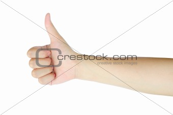 thumb up hand sign of woman isolated on white background
