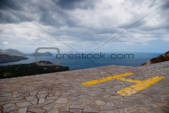 Heliport on top of Grand Crater, island Volcano, Lipari Islands,