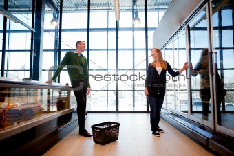 Supermarket Man Woman Flirt