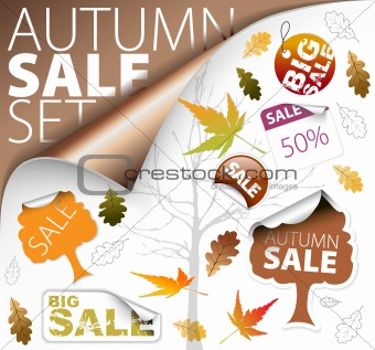 Set of autumn discount tickets, labels, stamps, stickers