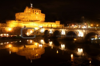 Castel Sant' Angelo night in Rome, Italy