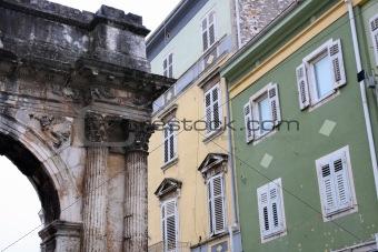 Arch of Sergius ( Roman gate ) in Pula, Croatia