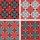 Seamless patterns set with checkered design.