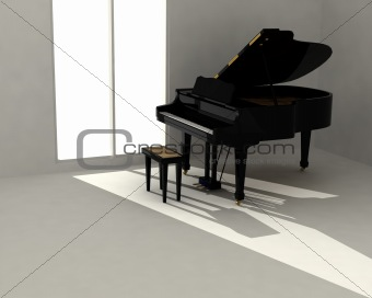 Black piano in white room