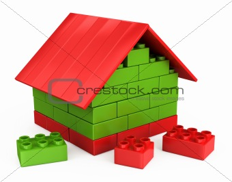 3D house of the plastic pieces of children's play