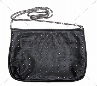 Black leather feminine bag with chain