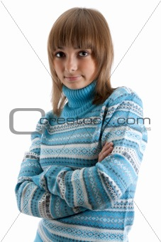 Portrait young beautiful girl in striped sweater