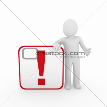 3d man human red exclamation mark  cube