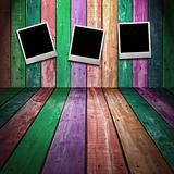 Photo frame on Colorful Wood