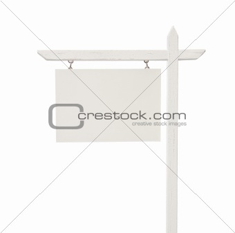 Blank Real Estate Sign Isolated on a White Background.
