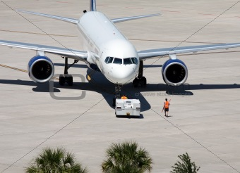 Aircraft in tow at Tampa,Airport