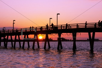 Fishing from the pier in Sarasota,Florida