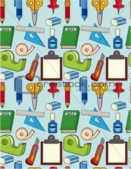 cartoon stationery seamless pattern