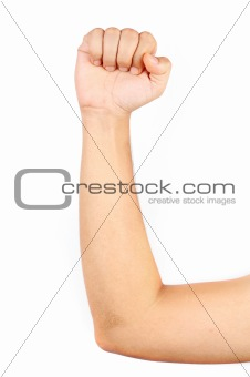 Close up of thin man's muscular arm