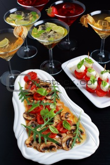 Appetizers with drinks for guests