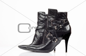 Black leather lady's boot