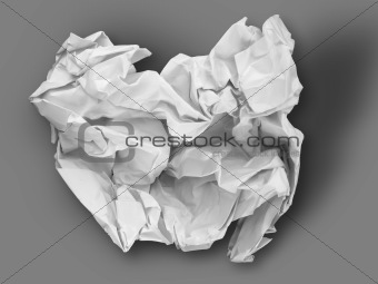 Crumpled White paper on Gray