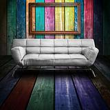 White leather sofa in Colorful Wood Room and old wood fotoframe