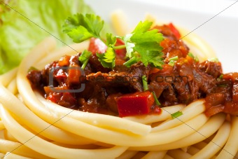 hungarian goulash with macaroni pasta