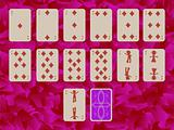 suit of diamonds playing cards on purple background