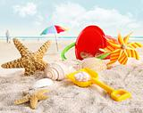 Children's beach toys at the beach