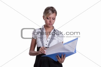Business lady looking at the documents
