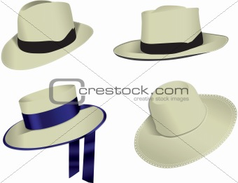 Four Panama vector hats