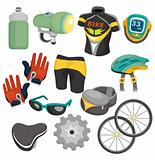 cartoon bicycle equipment icon set
