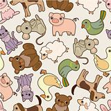 seamless cartoon animal pattern
