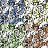 vector seamless abstract hand-drawn patterns in different colors