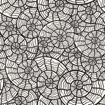 vector seamless monochrome pattern with sea shells