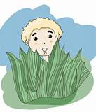 vector little boy hiding behind the grass