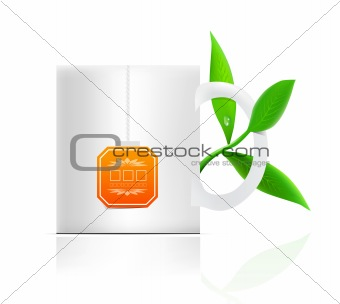 vector tea mug with teabag label and leaves