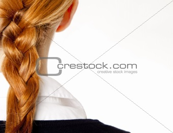 Back view at redhead businesswomen with tail.