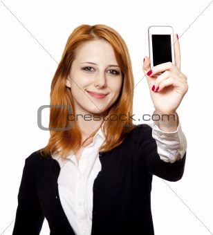 Redhead businesswomen show her mobile.