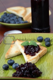 Blueberry jam toast