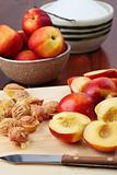 Halved nectarines